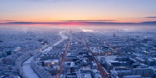 Aerial view of Turku city center at winter sunset, Finland - January 2018