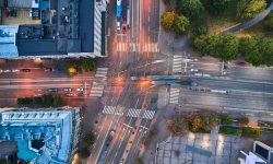 Aerial view of the intersection in Helsinki, Finland. The trams are crossing the intersection